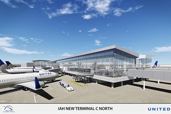 Rendering of the new Terminal C North at George Bush Intercontinental Airport. Image: courtesy of Houston Airport System.