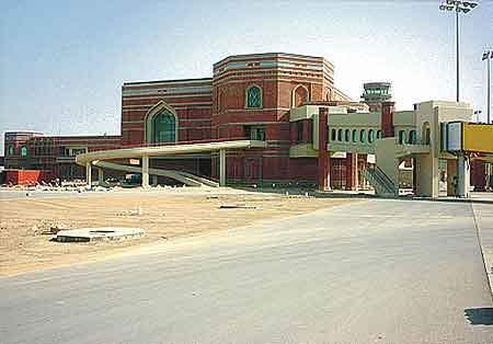 Scaffolding on the Allama Iqbal International Airport passenger terminal.