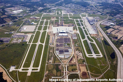 An aerial view of the new mid-field terminal at Indianapolis Airport.
