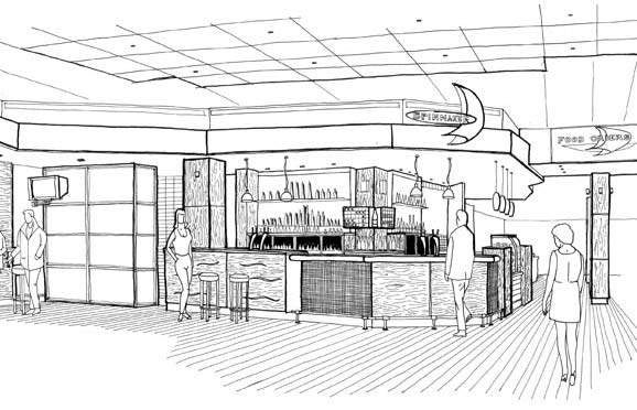 Artist's impression of the new Spinnaker Bar at Auckland International.