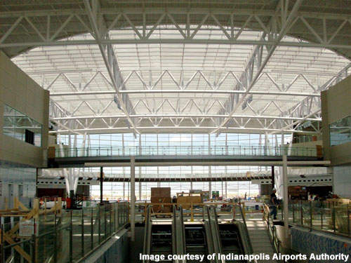 There are two 20-gate concourses in the Indianapolis terminal.