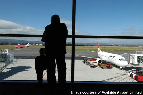 Adelaide airport's new terminal has an area where aircraft can be observed