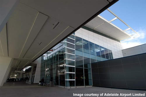 The terminal entrance at Adelaide International Airport.