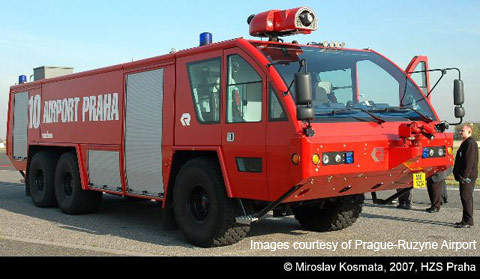 Prague-Ruzyne airport has new fire stations and new fire rescue vehicles.