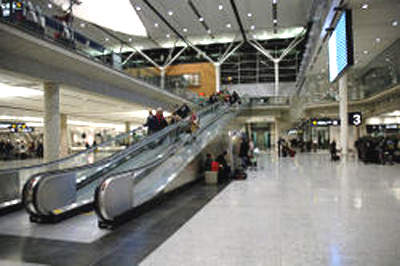 Inside the international arrivals complex at Montréal-Pierre Trudeau International Airport.