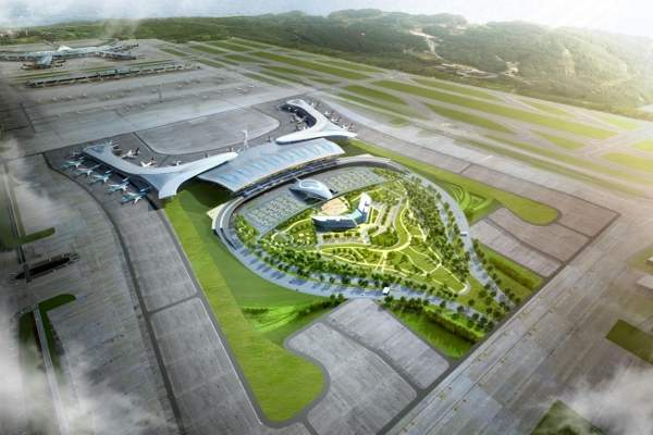 Aerial view of the new Terminal 2 at Incheon international airport.