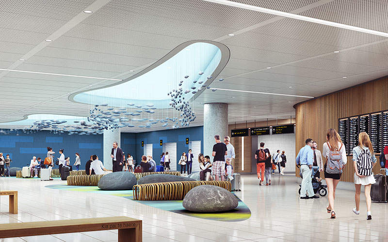 The security screening and processing area at the Auckland airport will be expanded. Image: courtesy of Auckland International Airport.