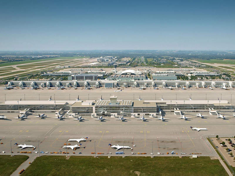Terminal 2 at Munich International Airport was expanded with a new satellite terminal. Image courtesy of Flughafen München.