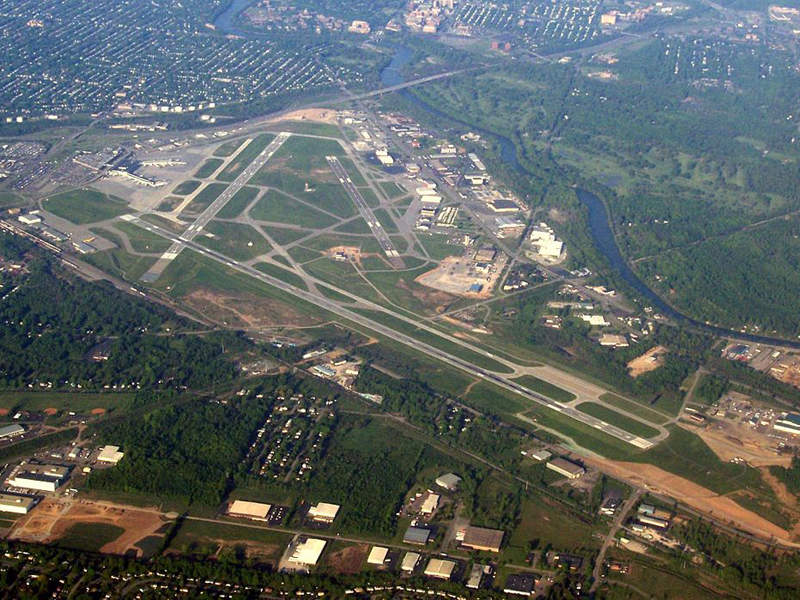 Greater Rochester International Airport is located south-west of Rochester on approximately 1,136 acres of land. Image courtesy of JKruggel.