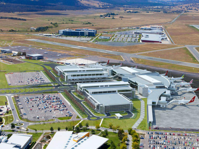 The new international terminal at Canberra airport is located close to the intersection of two runways. Image courtesy of Capital Airport Group Pty Ltd.