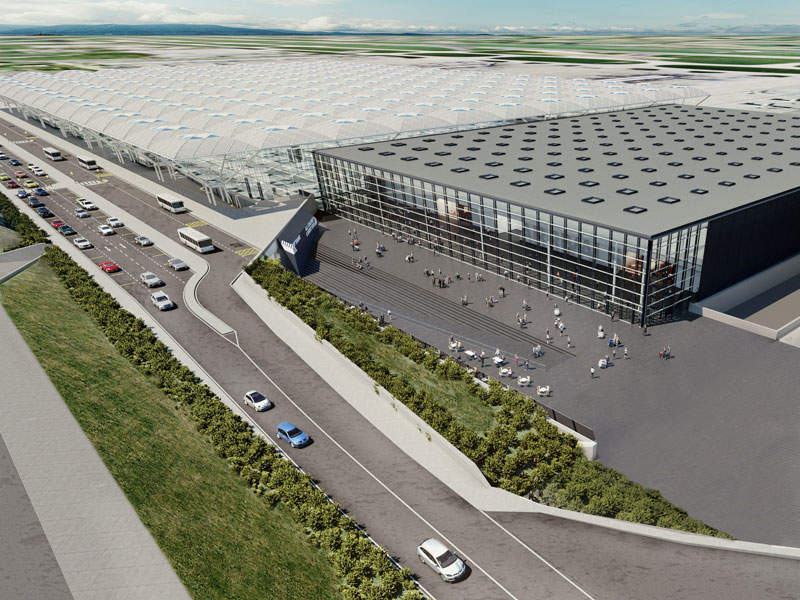 The proposed arrivals building at London Stansted airport will be a three-storey facility. Image courtesy of The Manchester Airports Group plc.