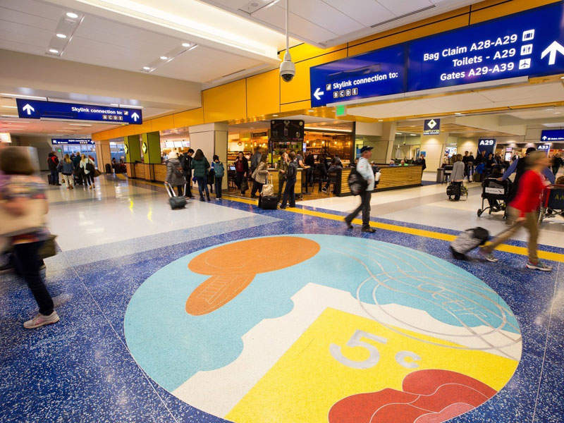 Renovated terminal A at Dallas Fortworth international airport features 50% more space for concessions. Image courtesy of The Dallas / Fort Worth International Airport Board U.S.A.