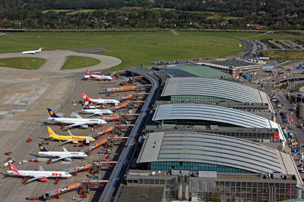 The Hamburg Airport has two terminal buildings and an Airport Plaza located between them. Image courtesy of Hamburg Airport.