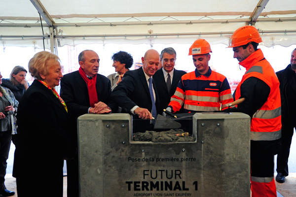 The first stone for the construction of the Future Terminal 1 of Lyon-Saint Exupéry airport was laid in December 2014.