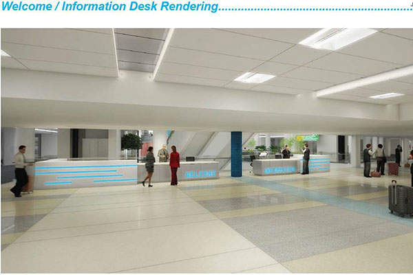 Artist's rendering showing the new information desk at Port Columbus airport. Image: courtesy of Columbus Regional Airport Authority.
