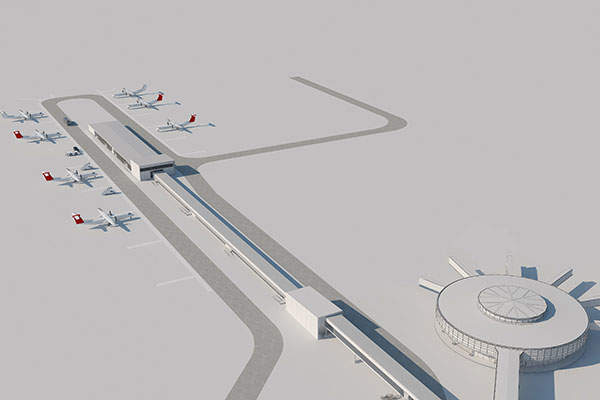 The regional satellite terminal will be located 300m away from the existing terminal at its northern end.