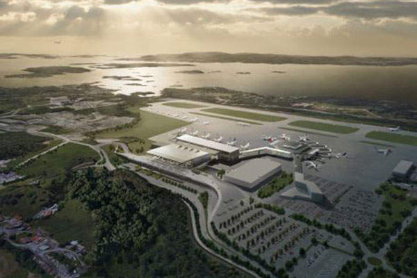 Bird's eye view of the new Terminal 3 (T3) at the Bergen International Airport. Image courtesy of Nordic Investment Bank (NIB).