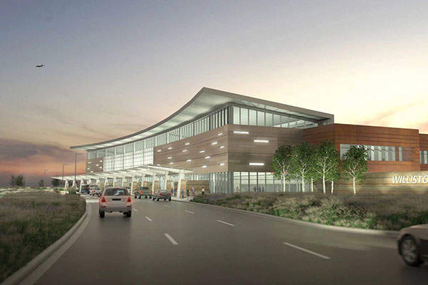 Williston Basin International Airport (WBIA) will feature a single passenger terminal. Image courtesy of Williston Economic Development.