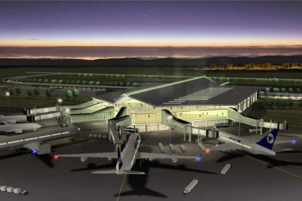 Rendering of the New Ulaanbaatar International Airport, which will replace the Chinggis Khaan International Airport.