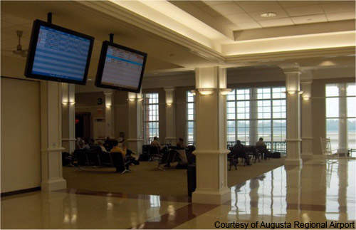 The new Augusta Airport ticketing hall is comfortable and well decorated.