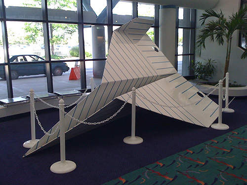 Paper aeroplane sculpture at Bishop International Airport.
