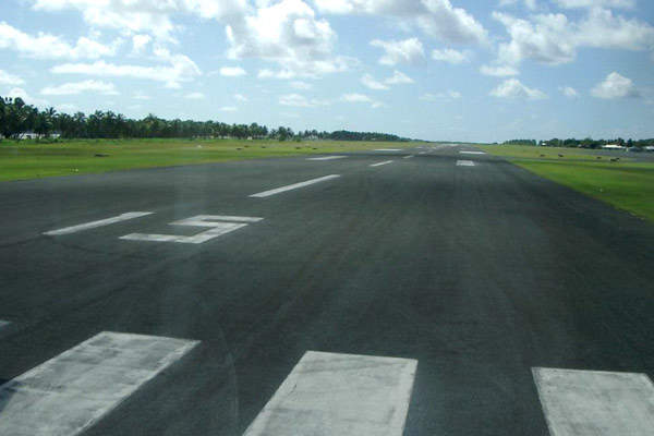 The airport features a single runway considered to be the longest runway in Vietnam.