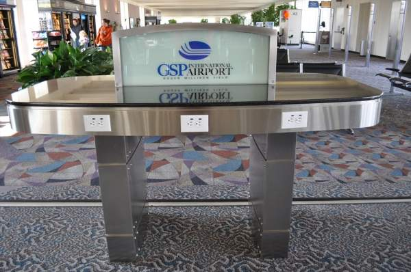 Charging stations built at the airport enable passengers charge their electronic devices. Image courtesy of GSP International Airport.