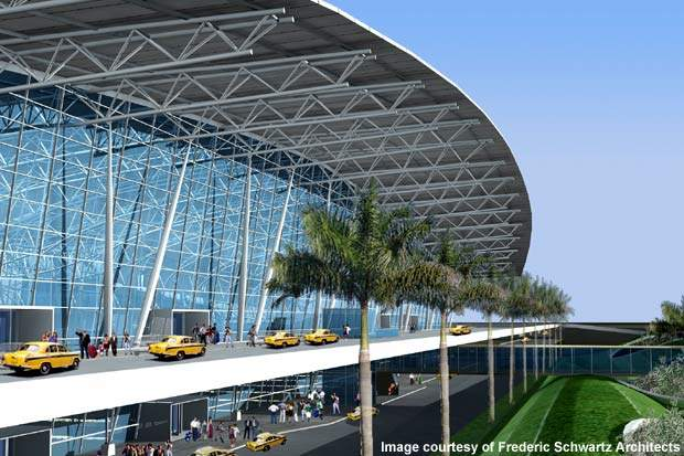 During 2007 and 2008, Chennai International Airport handled 3.4 million international passengers and 7.2 million domestic passengers and has an annual passenger growth of 18%. Credit: Frederic Schwartz Architects.