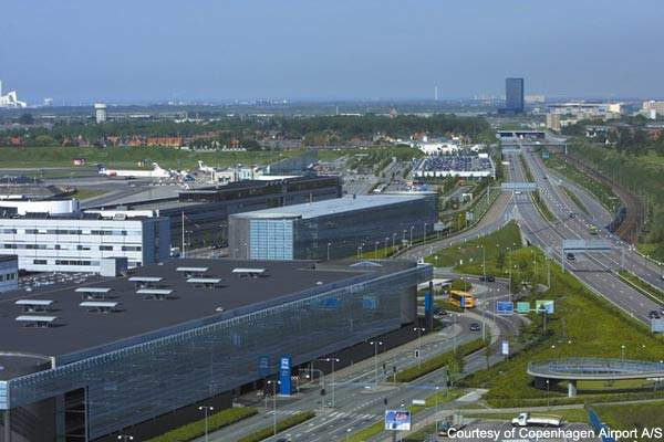 Copenhagen Airport is adjacent to the E20 motorway.