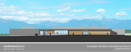 Landside elevation of Cranbrook Airport's new terminal building.