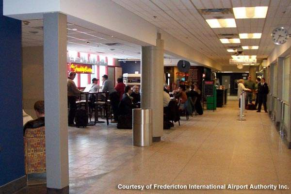Fredericton's terminal building houses a restaurant and lounge, a gift shop, car rental stations and self-service check-in kiosks.