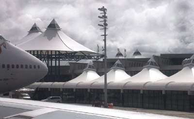 The membrane fabric structure of the roof.