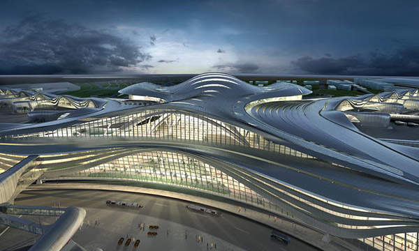 The terminal's glass facade lets in maximum daylight, which reduces external energy consumption.