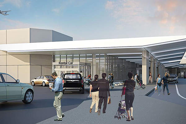 The new rental car pavilion, constructed on the north-west end of the terminal, provides improved services to passengers visiting the Charleston International Airport. Image courtesy of Charleston County Aviation Authority.