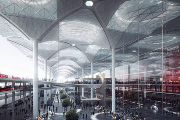 Terminal 1 of the airport will be the largest of its kind, with a gross floor area of approximately one million square metres. Image courtesy of Nordic.