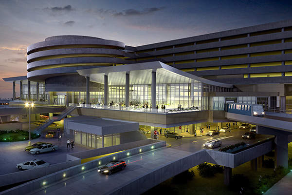 Relocated shuttles, expanded terminal area and the large event space terrace at airport. Image courtesy of HOK.