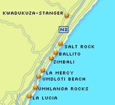 Las Mercy is a little up the coast from Durban but it is right in the middle of a major tourist route.