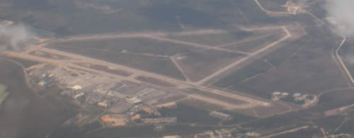 An aerial view of the airport.