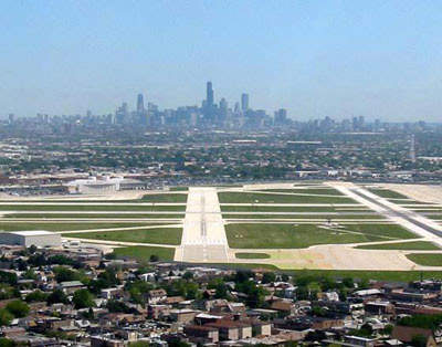 The final approach to Midway Airport.