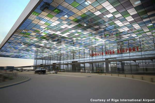 The new terminal departure area at Riga International Airport.