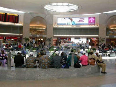 The rotunda where passengers wait for their flights in terminal three of Ben Gurion International Airport.