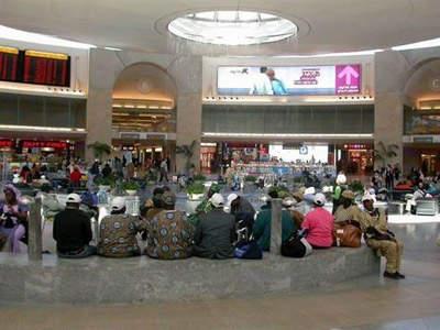 The rotunda where passengers wait for their flights in terminal three of Ben Gurion International Airport.