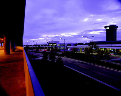 A view looking towards terminal two at twilight.
