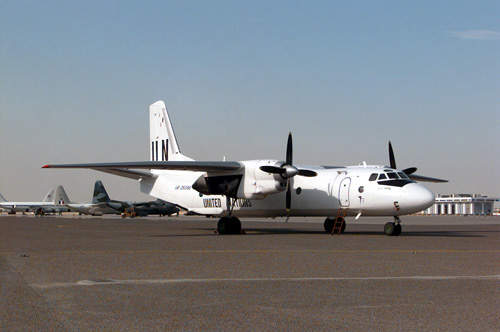 A United Nations (UN) Antonov An-26B at the Kuwait City International Airport, Kuwait.