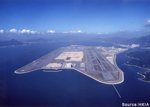 Hong Kong Airport has a site size of 12.48km². Credit: HKIA.