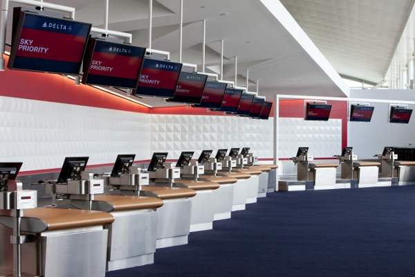 The Delta Sky Priority Check-in at JFK's Terminal 4.