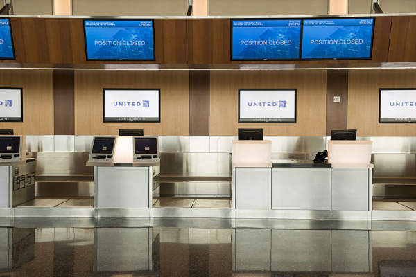 The new ticket lobby at the terminal is equipped with Common Use Passenger Processing System (CUPPS).