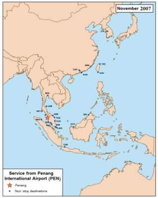 A map showing the destinations serviced by Penang International Airport.