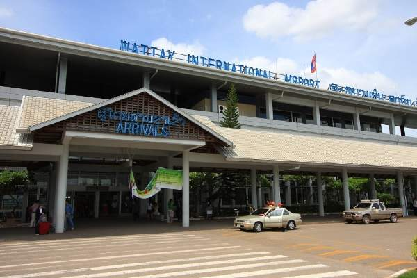 The entrance for arrival area of Wattay International Airport.