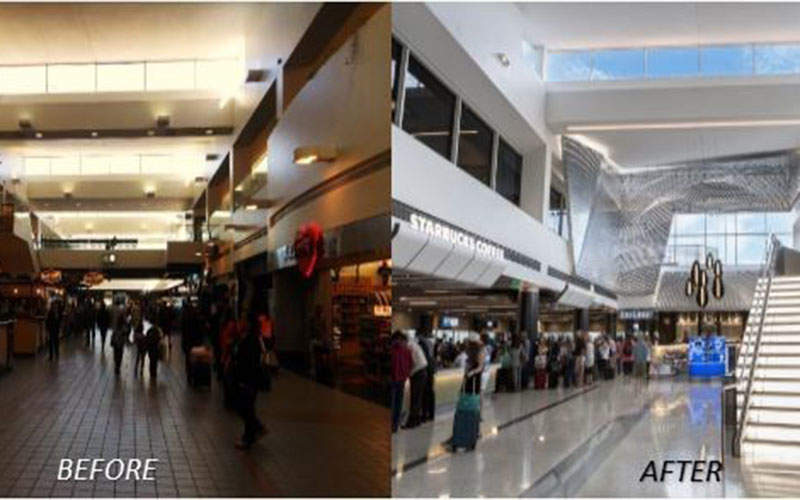The Terminal 2 Improvement Programme has completely transformed the age-old terminal at Los Angeles International Airport. Image courtesy of Westfield.